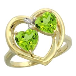 2.60 CTW Peridot Ring 10K Yellow Gold - REF-23N7Y