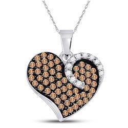 Brown Diamond Unique Heart Cluster Pendant 3/4 Cttw 10k White Gold