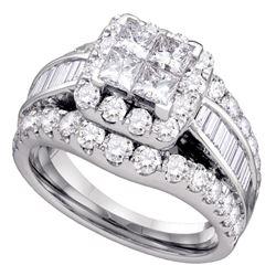 Diamond Halo Cluster Bridal Wedding Engagement Ring 3.00 Cttw 14kt White Gold