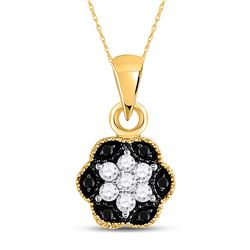 Round Black Color Enhanced Diamond Hexagon Cluster Pendant 1/5 Cttw 14kt Yellow Gold