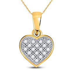 Diamond Simple Heart Cluster Pendant 1/20 Cttw 10kt Yellow Gold