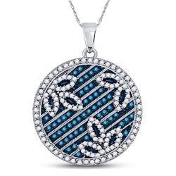 Round Blue Color Enhanced Diamond Circle Floral Pendant 3/4 Cttw 10kt White Gold