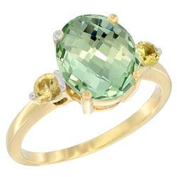 2.64 CTW Amethyst & Yellow Sapphire Ring 14K Yellow Gold - REF-32K3W