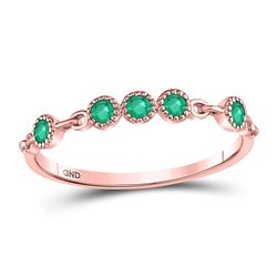 Round Emerald Dot Stackable Band Ring 1/20 Cttw 10kt Rose Gold