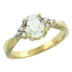 1.06 CTW Amethyst & Diamond Ring 10K Yellow Gold - REF-28X4M