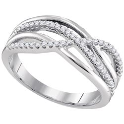 Diamond Crossover Woven Band 1/5 Cttw 10k White Gold