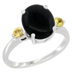 1.79 CTW Onyx & Yellow Sapphire Ring 10K White Gold - REF-22Y4V
