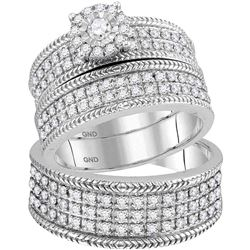 His & Hers Diamond Solitaire Wheat-accent Matching Bridal Wedding Ring Set 7/8 Cttw 10kt White Gold