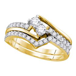 Round 2-Stone Diamond Hearts Together Bridal Wedding Engagement Ring Band Set 3/4 Cttw 10kt Yellow G