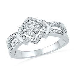 Diamond Square Cluster Ring 1/4 Cttw 10kt White Gold