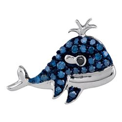 Round Blue Color Enhanced Diamond Whale Animal Pendant 1/5 Cttw 10kt White Gold