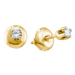 Girls Infant Diamond Solitaire Stud Earrings 1/20 Cttw 14kt Yellow Gold