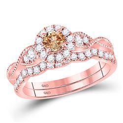 Round Brown Diamond Bridal Wedding Engagement Ring Band Set 3/4 Cttw 14kt Rose Gold