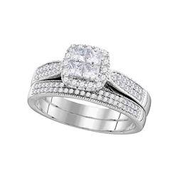 Diamond Cluster Halo Bridal Wedding Engagement Ring Band Set 3/4 Cttw 14kt White Gold
