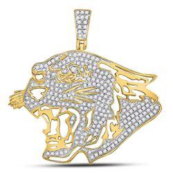 Mens Diamond Panther Head Charm Pendant 5/8 Cttw 10kt Yellow Gold