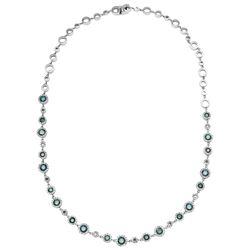 4.76 CTW Diamond & Blue Diamond Necklace 18K White Gold - REF-382F3N
