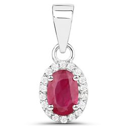0.62 ctw Ruby & White Diamond Pendant 14K White Gold - REF-23T4X