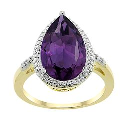 5.55 CTW Amethyst & Diamond Ring 10K Yellow Gold - REF-34X8M