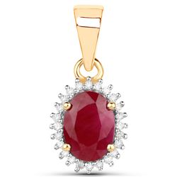 0.97 ctw Ruby & White Diamond Pendant 14K Yellow Gold - REF-24F2W