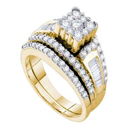 Diamond Bridal Wedding Engagement Ring Band Set 1-1/2 Cttw 14kt Yellow Gold