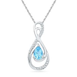 Oval Lab-Created Blue Topaz Solitaire Diamond Teardrop Pendant 3/4 Cttw 10kt White Gold