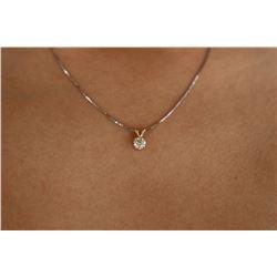 Natural 0.52 ctw Diamond VS2-J Solitaire Necklace 14K 2-Tone Gold - REF-73W5H