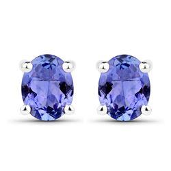 0.66 ctw Tanzanite Earrings 14K White Gold - REF-15R4K