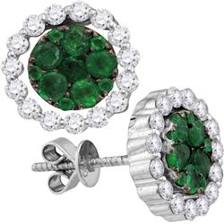 Round Emerald Diamond Convertible Dangle Jacket Earrings 1-7/8 Cttw 18kt White Gold
