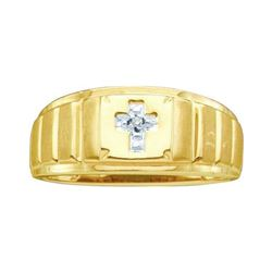 Mens Diamond Cross Faith Ring .01 Cttw 10kt Yellow Gold