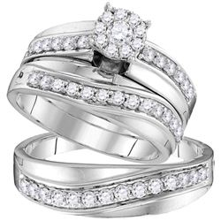 His & Hers Diamond Cluster Matching Bridal Wedding Ring Band Set 1.00 Cttw 14kt White Gold