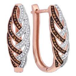Round Red Color Enhanced Diamond Hoop Luxury Earrings 1/3 Cttw 10kt Rose Gold