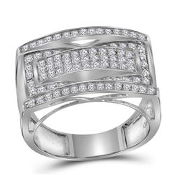 Mens Round Pave-set Diamond Rectangle Cluster Fashion Ring 1.00 Cttw 10kt White Gold