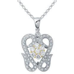 0.88 CTW Diamond Pendant 18K 2Tone Gold - REF-112M2F