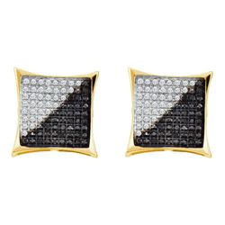 Mens Round Black Color Enhanced Diamond Square Kite Cluster Earrings 3/4 Cttw 10kt Yellow Gold