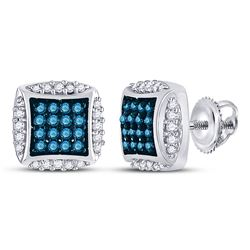 Round Blue Color Enhanced Diamond Square Cluster Earrings 1/3 Cttw 10kt White Gold