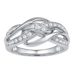 Diamond Woven Knot Strand Band 1/4 Cttw 10kt White Gold