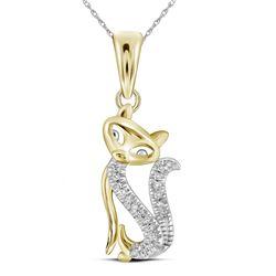 Diamond Kitty Cat Animal Pendant 1/20 Cttw 10kt Yellow Gold