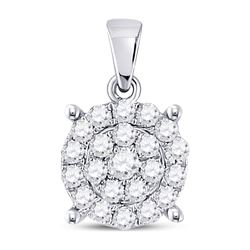 Diamond Cindys Dream Circle Cluster Pendant 1/2 Cttw 10kt White Gold