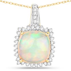 3.12 ctw Ethiopian Opal & Diamond Pendant 14K Yellow Gold - REF-70W4M