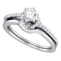 Diamond Slender Bridal Wedding Engagement Ring Band Set 1/2 Cttw 14kt White Gold