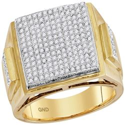 Mens Round Prong-set Diamond Triple Square Cluster Ring 1-1/3 Cttw 10kt Yellow Gold