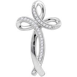 Diamond Rounded Cross Pendant 1/10 Cttw 10kt White Gold