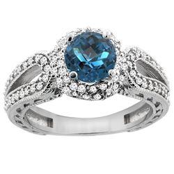 1.50 CTW London Blue Topaz & Diamond Ring 14K White Gold - REF-87R3H