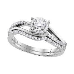 Diamond Halo Bridal Wedding Engagement Ring Band Set 1/2 Cttw 10k White Gold