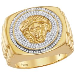 Mens Diamond Gorgon Medusa Ribbed Cluster Ring 1/2 Cttw 10kt Yellow Gold