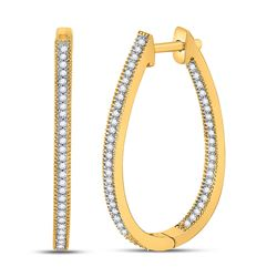 Diamond Oblong Oval Hoop Earrings 1/3 Cttw 10kt Yellow Gold
