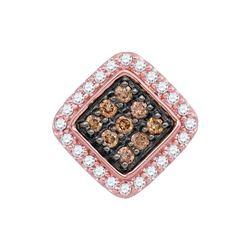Round Brown Diamond Diagonal Square Pendant 1/4 Cttw 10kt Rose Gold