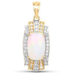 5.39 ctw Ethiopian Opal & Diamond Pendant 14K Yellow Gold - REF-204R4K