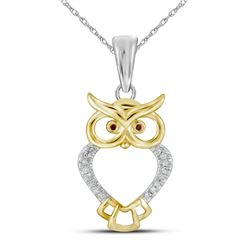 Round Red Color Enhanced Diamond Owl Bird Animal Pendant 1/20 Cttw 10kt Yellow Gold