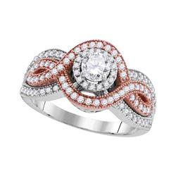 Diamond Solitaire Twist Bridal Wedding Engagement Ring 1.00 Cttw 10kt White Rose-tone Gold